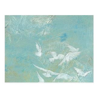 White Birds Flying Through Blue Sky Postcard