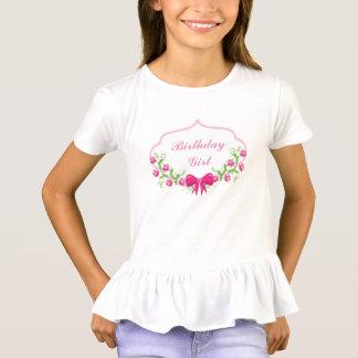 White Birthday Girl Tee - Pink Floral Design