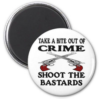White Bite Out Crime Bastards 6 Cm Round Magnet