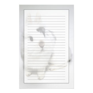 White, black and brown rabbit stationery