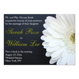 White, Black, and Gold Daisy Wedding Invitation