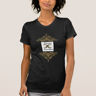 White Black and Gold Damask Sweet 16 T-Shirt