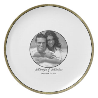 White Black and Gold Guest Signing Plate