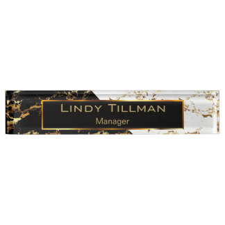 White, Black and Gold Marble Design Name Plate