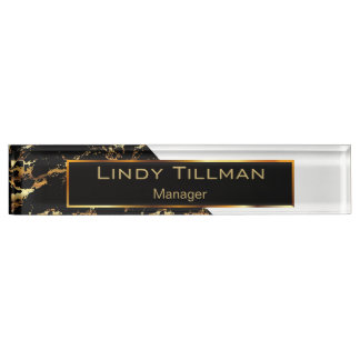 White, Black and Gold Marble Nameplate