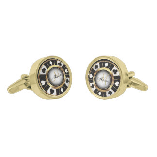 White, Black and Gold Poker Chip - Monogram Gold Finish Cufflinks