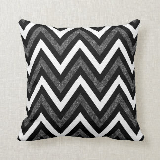 White black and gray glitter chevron pillow