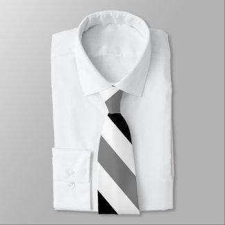 White Black and Gray University Stripe Tie