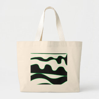 White, black and green large tote bag