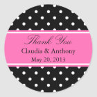 White, Black and Pink Polka Dot Pattern  Thank You Classic Round Sticker