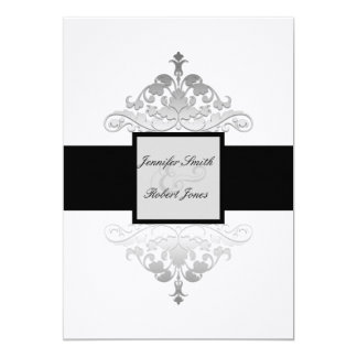 White Black and Silver Damask Wedding Invitation