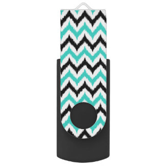 White, Black and Turquoise Zigzag Ikat Pattern USB Flash Drive