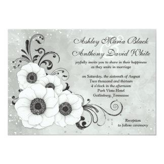 White Black Anemone Flower Floral Wedding 13 Cm X 18 Cm Invitation Card