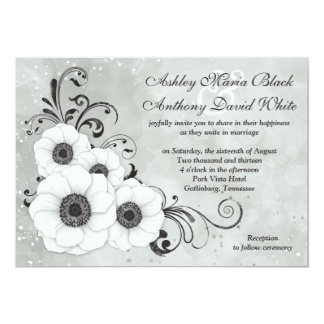 White Black Anemone Flower Floral Wedding Card