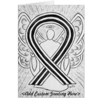 White & Black Awareness Ribbon Angel Greeting Card