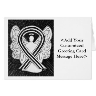 White & Black Awareness Ribbon Personalized Cards