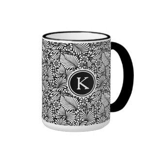 White & Black Baroque Floral Pattern Ringer Coffee Mug