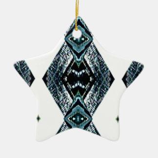 White Black Blue Modern Clean Pattern Ceramic Ornament