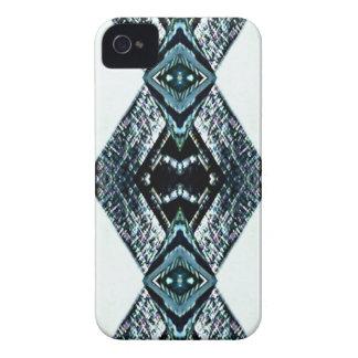 White Black Blue Modern Clean Pattern iPhone 4 Case