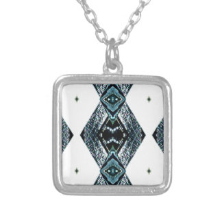 White Black Blue Modern Clean Pattern Silver Plated Necklace