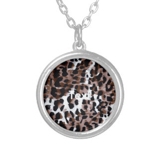 White Black Brown Cheetah Abstract Round Pendant Necklace