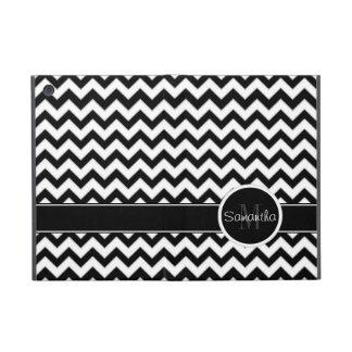 White & Black Chevron Pattern Custom Monogram Cover For iPad Mini