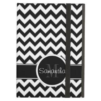 White & Black Chevron Pattern Custom Monogram iPad Air Cover