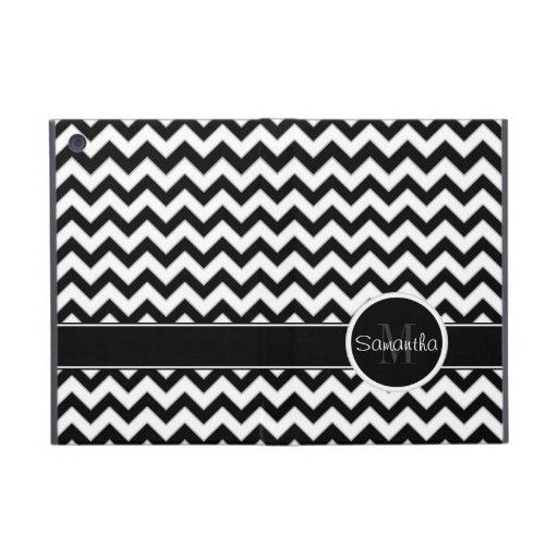 White & Black Chevron Pattern Custom Monogram iPad Mini Covers