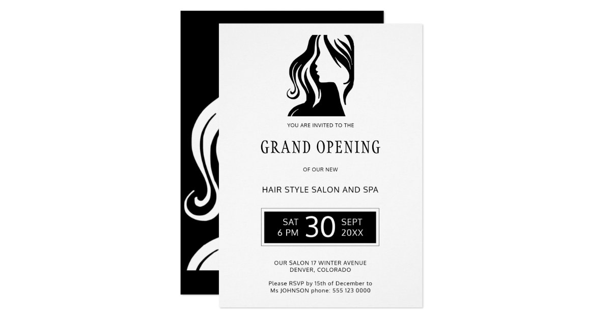 White black elegant beauty salon grand opening invitation