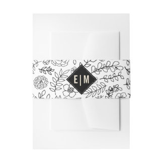 White | Black Floral Invitation Belly Bands Invitation Belly Band
