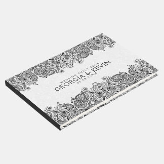 White & Black Floral Paisley Lace Guest Book