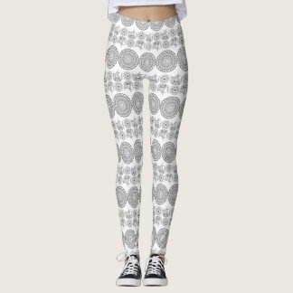 white&black floral pattern with sends them leggings