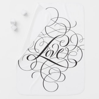White Black Flourished LOVE modern Calligraphy Baby Blanket