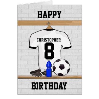 White Black Football Soccer Jersey Happy Birthday Greeting Card