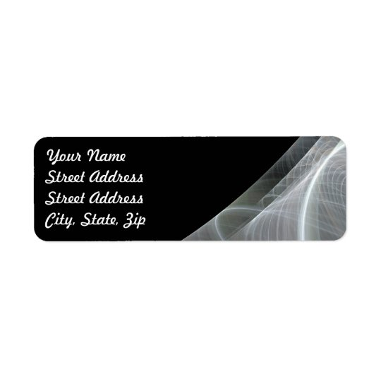 White Black Frac Background Return Address Sticker