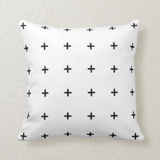 White & Black Geometric Throw Pillow