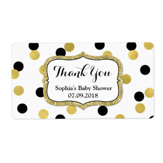 White Black Gold Confetti Baby Shower Labels