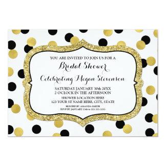 White Black Gold Confetti Bridal Shower Card