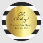 White,Black, Gold Striped Sticker - Personalised