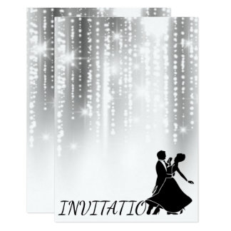 White Black Gray Night Sky Starry Dance Party Card