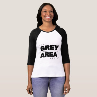 White/ Black Grey Area Mid Sleeve Womens T-Shirt