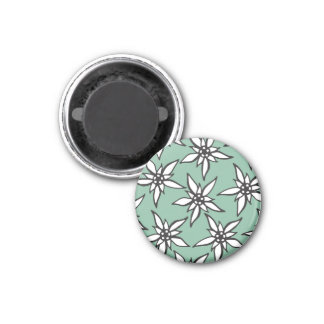 White & Black Hand Drawn Flowers on Teal 3 Cm Round Magnet