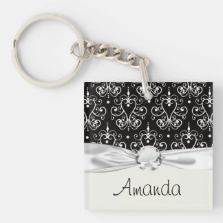 white black heart chandelier shabby damask pattern Double-Sided square acrylic keychain