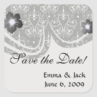 white black heart chandelier shabby damask pattern square sticker
