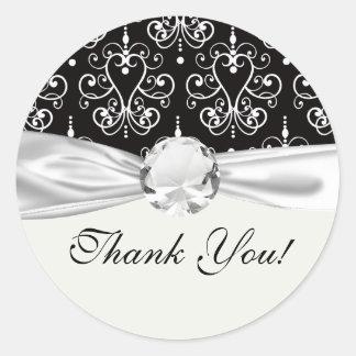 white black heart chandelier shabby damask pattern round sticker