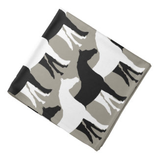 White, Black Horses/Aluminum Silver Background Bandana