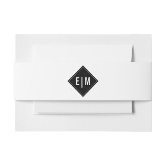 White | Black Invitation Belly Bands Invitation Belly Band