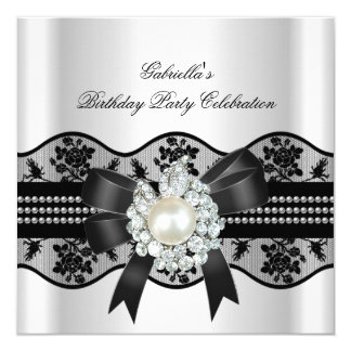 White Black Lace Pearl Elegant Birthday Party Card