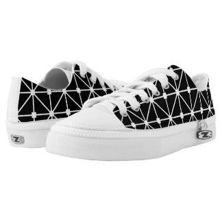 White Black Lattice Pattern Printed Shoes
