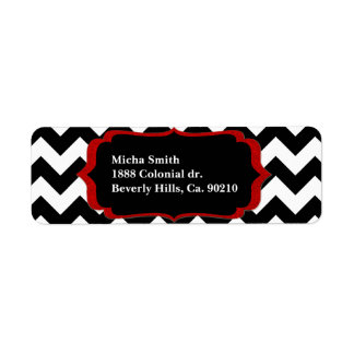 White & Black Modern Chevron Monogram Return Address Label